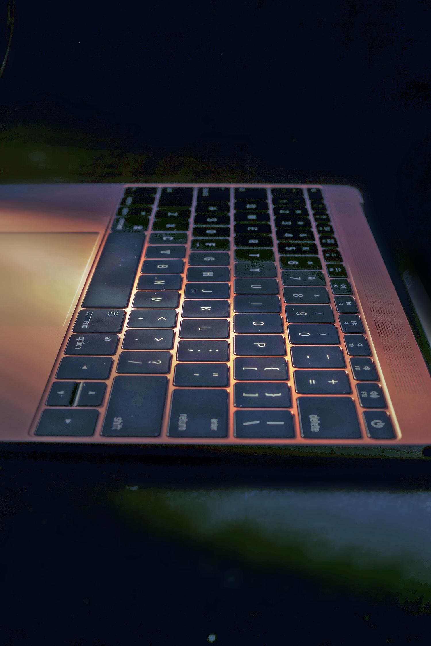 The MacBook's keyboard.