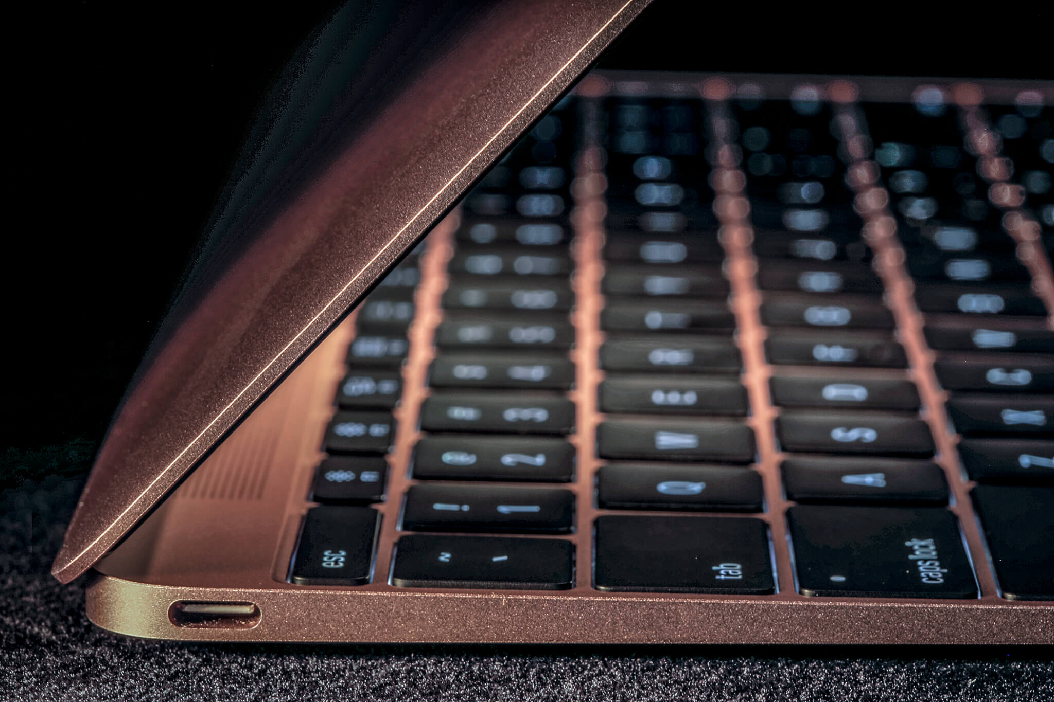 The MacBook's lone USB-C port.