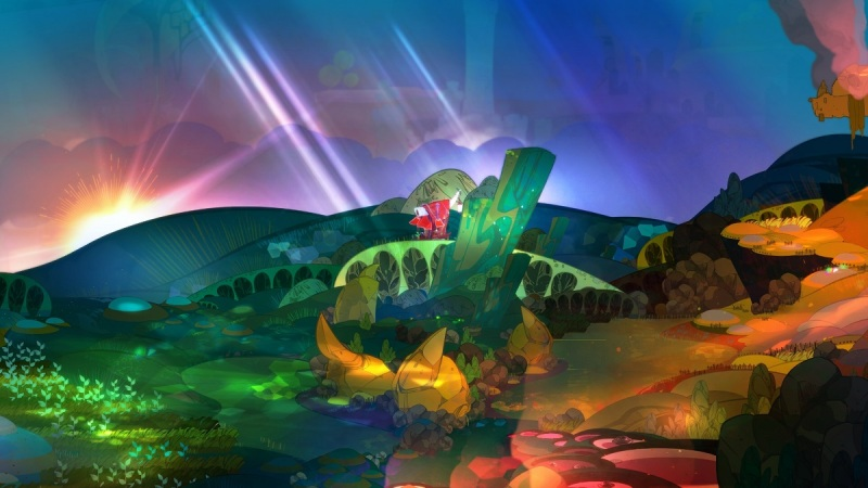 Pyre has a colorful art style.