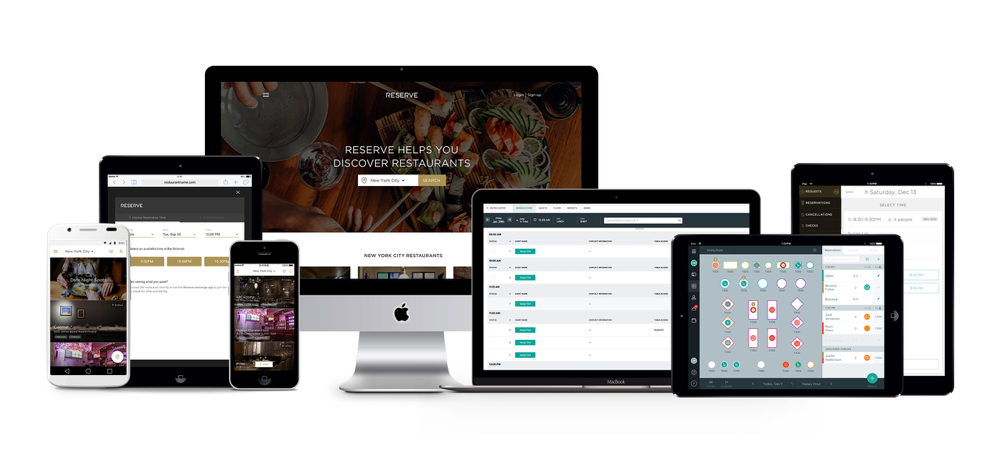 Reserve ecosystem - Reserve concierge app, website widget, Reserve.com website