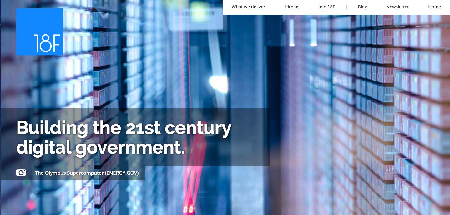 18F homepage screenshot