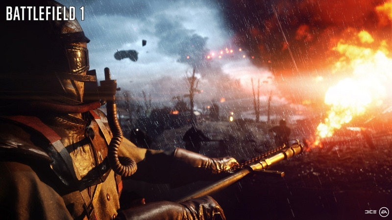 Battlefield 1's flamethrower in action.