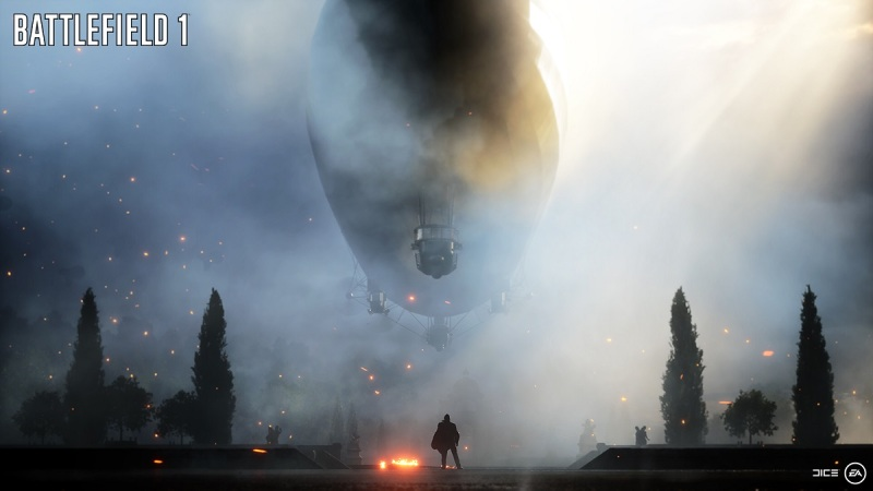 The zeppelin appears at the end of the Battlefield 1 video.
