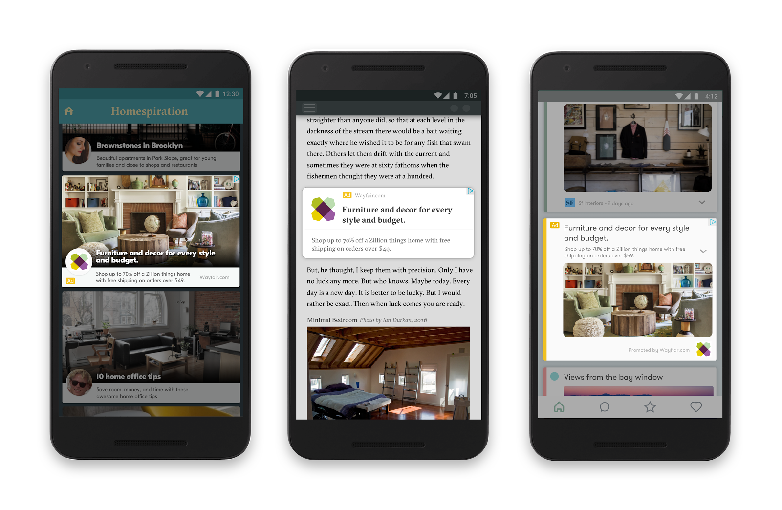 Responsive ads for display adapt to fit any app or site on the GDN.