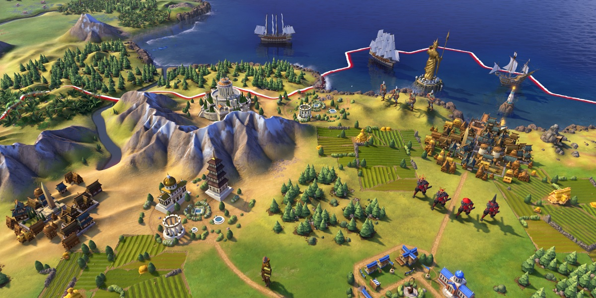 "Civilization VI has a ""color language"" for distinguishing buildings and terrain."