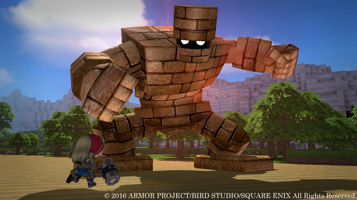 Big trouble for a little guy in Dragon Quest Builders.