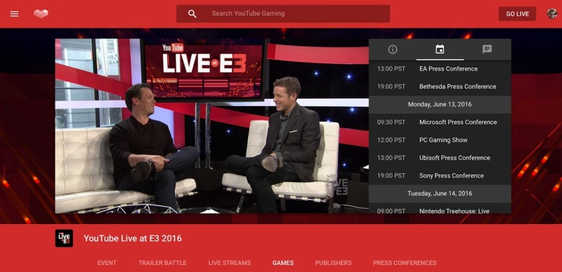 Geoff Keighley interviewed game execs for YouTube Gaming last year. He'll do it again at this year's E3.