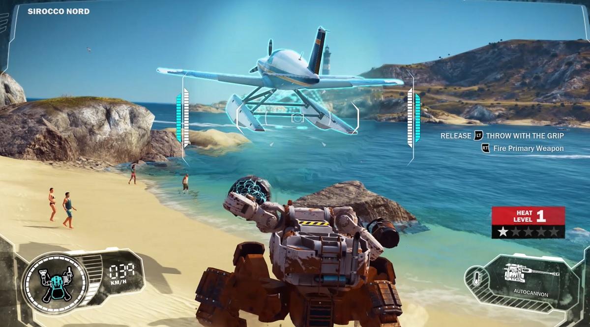 Just Cause 3 DLC's mech lets you launch a seaplane.