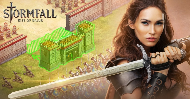 Megan Fox wields a sword in Stormfall: Rise of Balur.