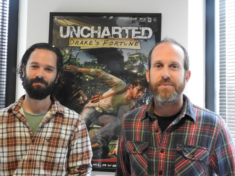 Neil Druckmann and Bruce Straley, the co-directors of Naughty Dog's Uncharted 4: A Thief's End.