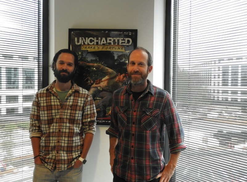 Neil Druckmann and Bruce Straley at Naughty Dog's headquarters in Santa Monica, Calif.