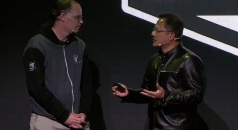 Tim Sweeney of Epic Games with Jen-Hsun Huang of Nvidia.