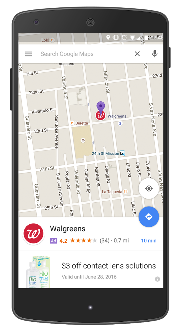 Ads in Maps : promoted pins (left) and business page (right)