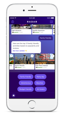 Yahoo Radar for iOS showing family-friendly attractions in Seattle, Wash.
