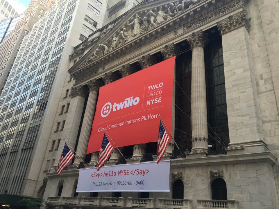 Signs at the New York Stock Exchange promoting Twilio's public offering. The cloud communications company will begin trading on June 23, 2016.