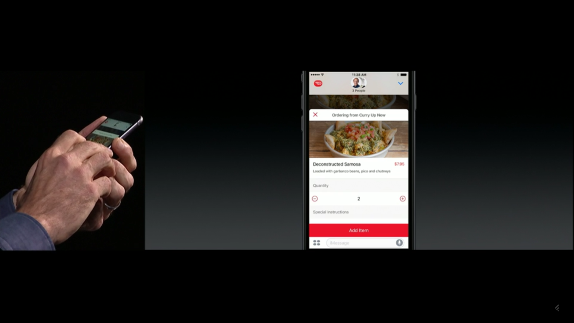 The DoorDash iMessage App, as demonstrated by Apple's Craig Federighi.
