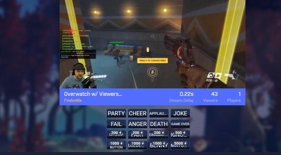 A screenshot of Beam's WebRTC-powered live-stream gaming