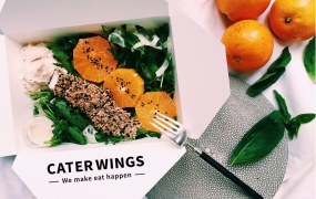 This is photo of food from CaterWings, an online marketplace for catering services , has raised $6.7 million in funding.