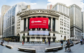 An image shows signage at the New York Stock Exchange promoting Twilio's IPO.