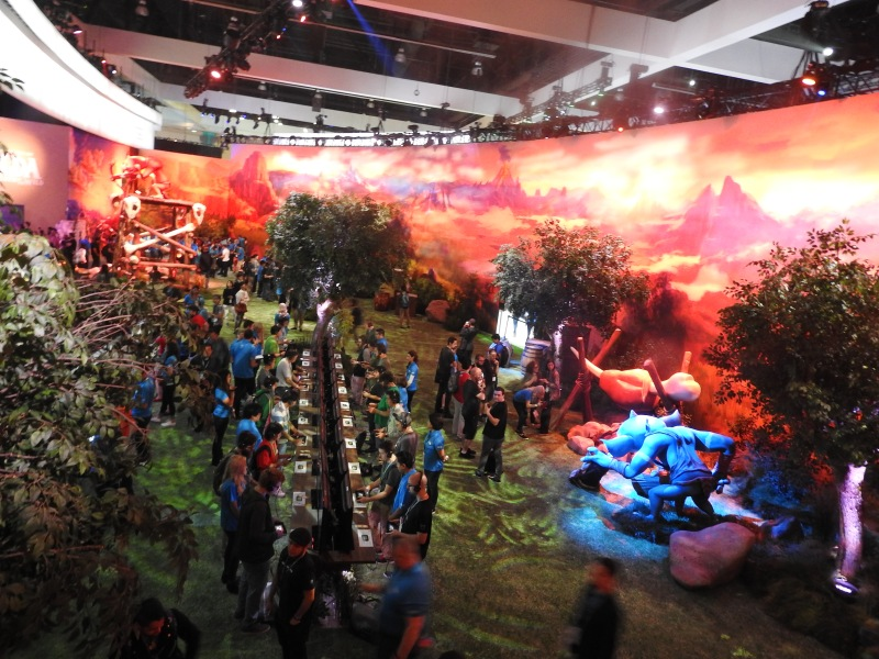 Nintendo created a giant mural of the Zelda landscape at its E3 booth.