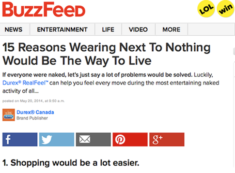 This is a screnshot of Durex native content on Buzzfeed