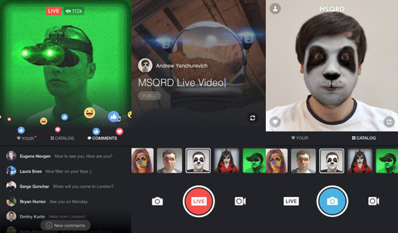 Facebook has added support for Facebook Live in MSQRD.