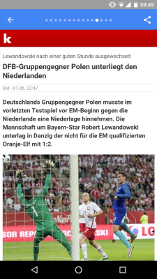 An article in German accessed via Google News with the Accelerated Mobile Pages (AMP) technology.