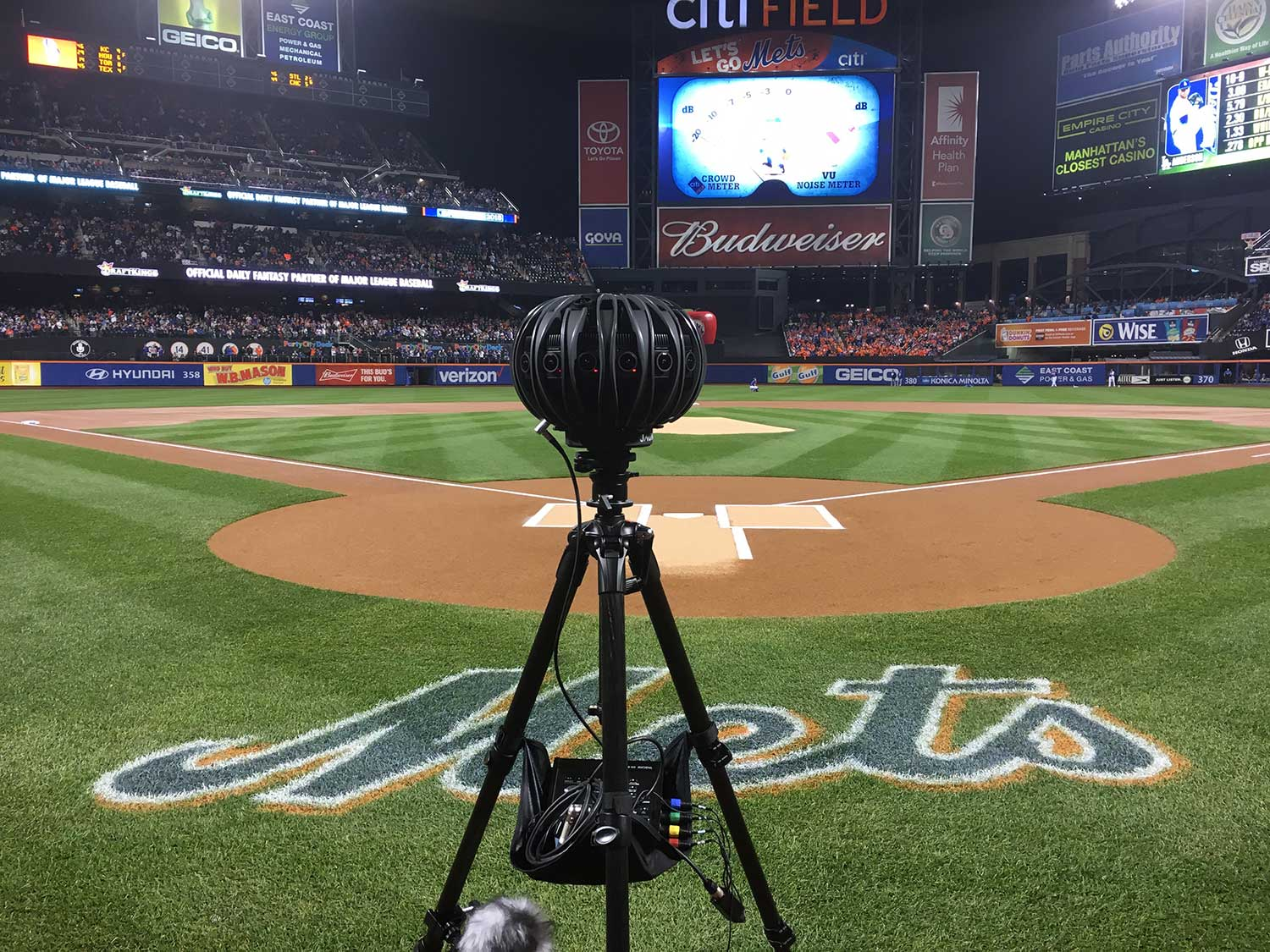 Jaunt One VR camera on the field of a New York Mets game.