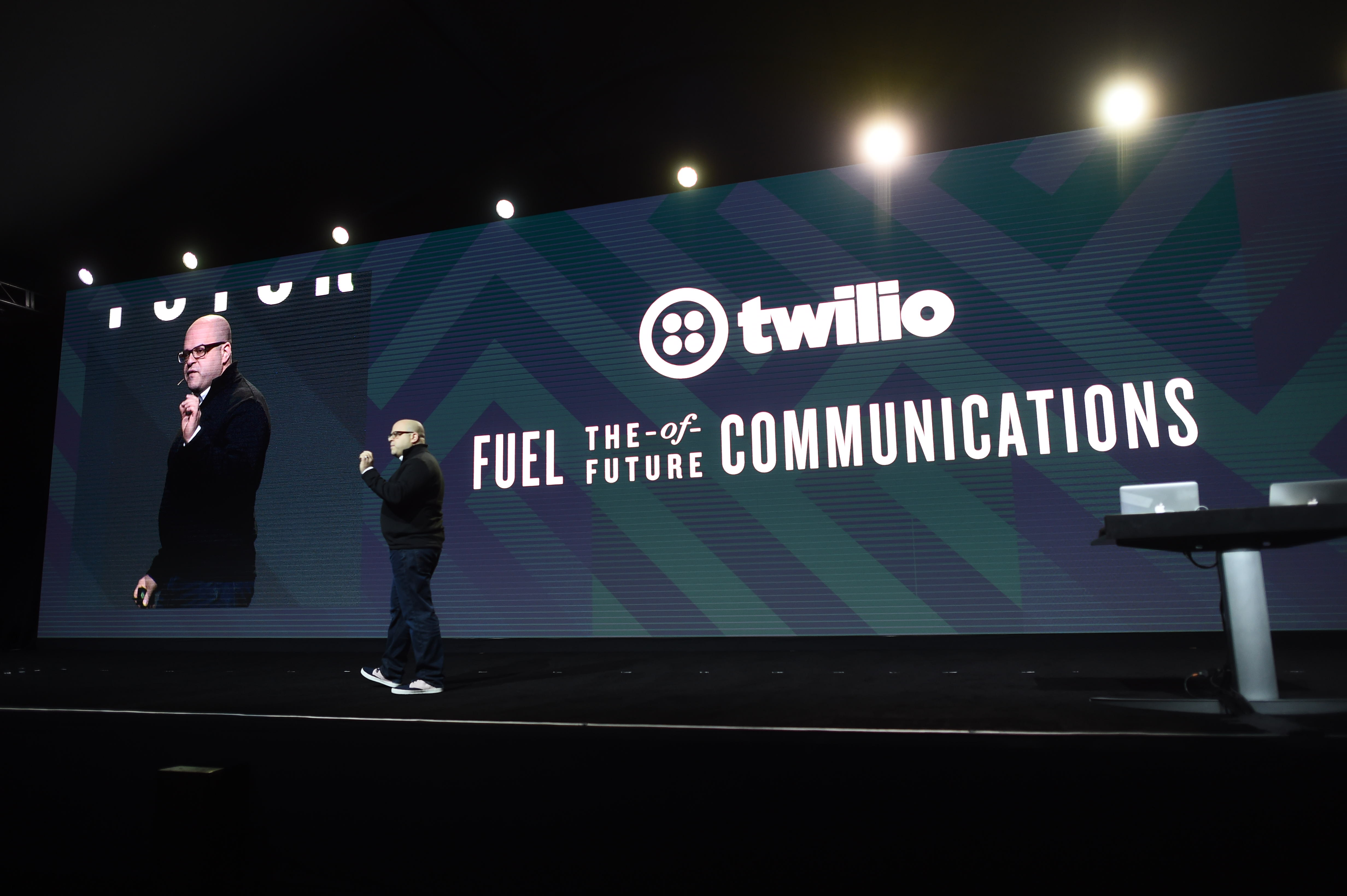 Twilio chief executive Jeff Lawson on stage at the company's Signal conference in San Francisco, Calif. in 2016.