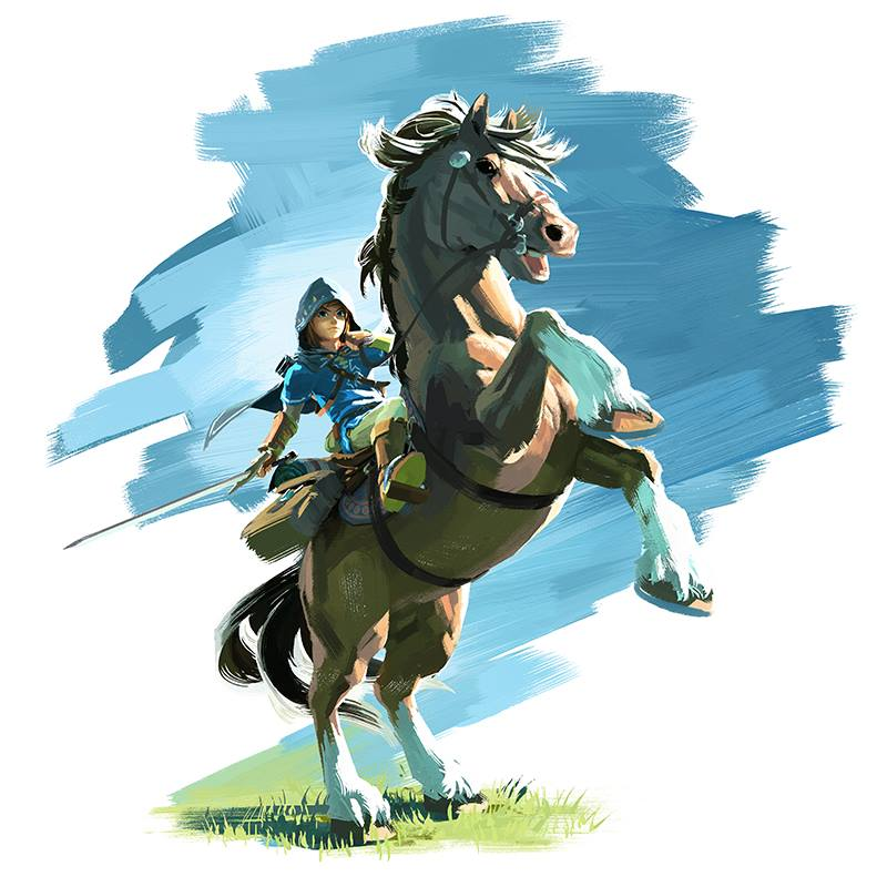 Link riding a horse.