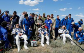 This is a photo of The International Space Station (ISS) crew members Timothy Peake of Britain, Yuri Malenchenko of Russia and Timothy Kopra of the U.S., surrounded by ground personnel, rest shortly after landing near the town of Dzhezkazgan (Zhezkazgan), Kazakhstan, June 18, 2016.