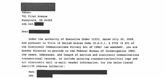 Yahoo be es first pany to disclose FBI National Security
