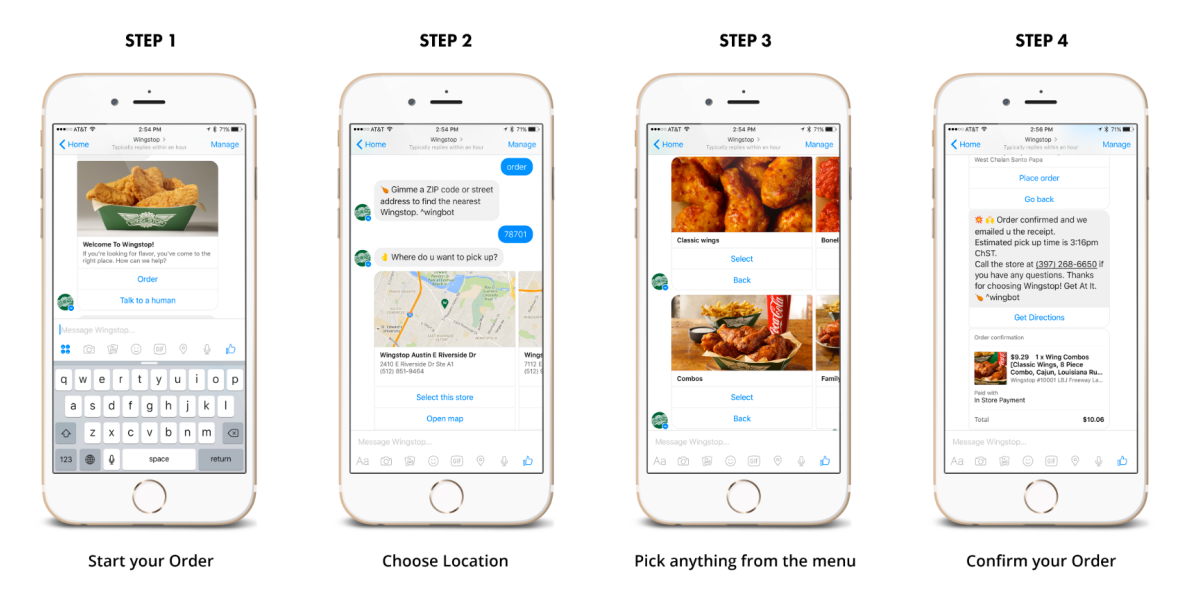 These screenshots show Conversable's order flow for Wingstop on Facebook Messenger.