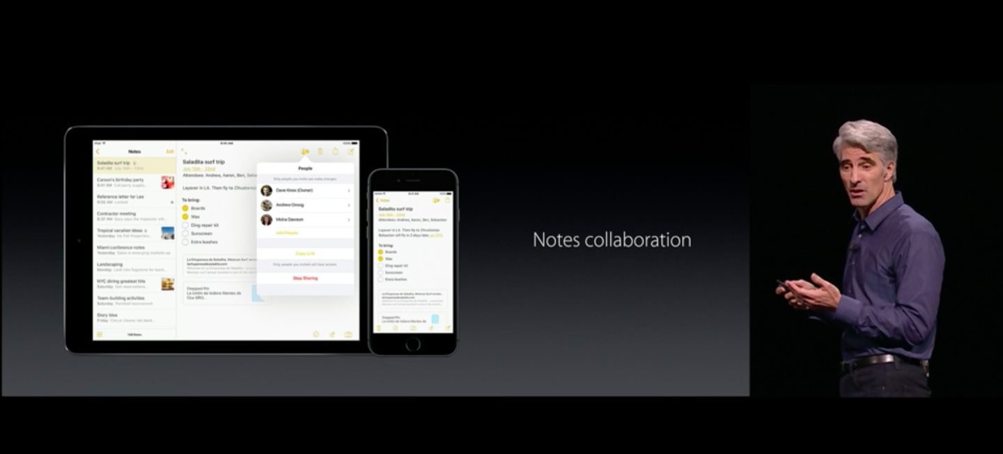 Multiple people can collaborate in the new Notes app.