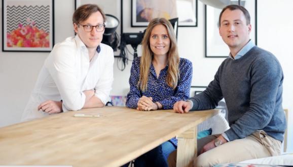A photo of Juniqe's Marc Pohl, Lea Lange and Sebastian Hasebrink,