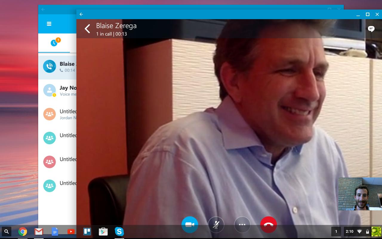 Skype call with Blaise, on a Chromebook. Hi Blaise!