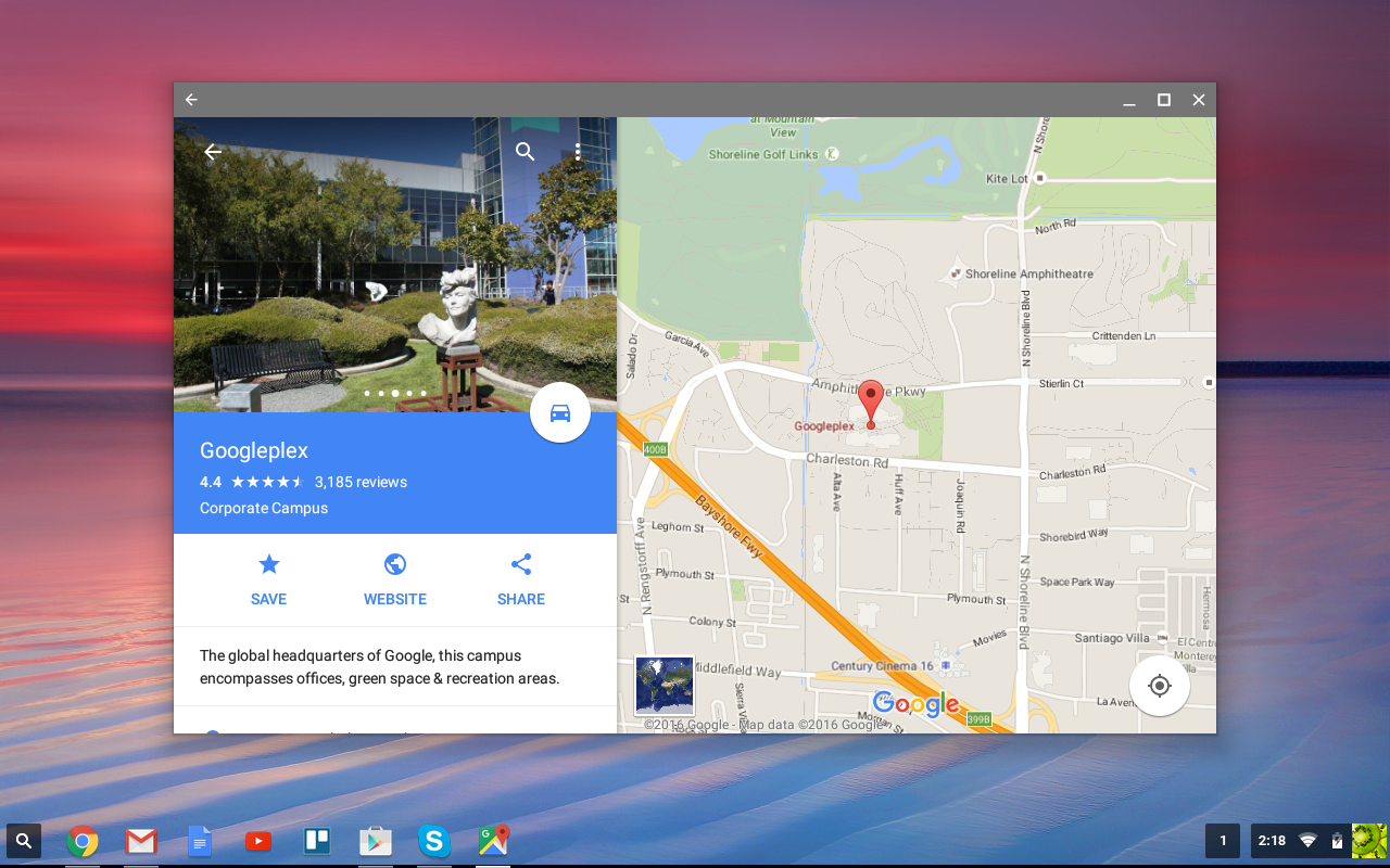 Google Maps is now native on the Chromebook.
