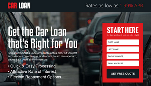 This is a screenshot of Car Loan direct marketing offer