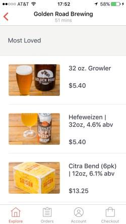 Ordering alcoholic beverages through DoorDash