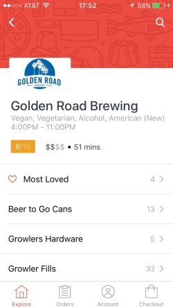 Ordering alcohol from Golden Road Brewing on DoorDash