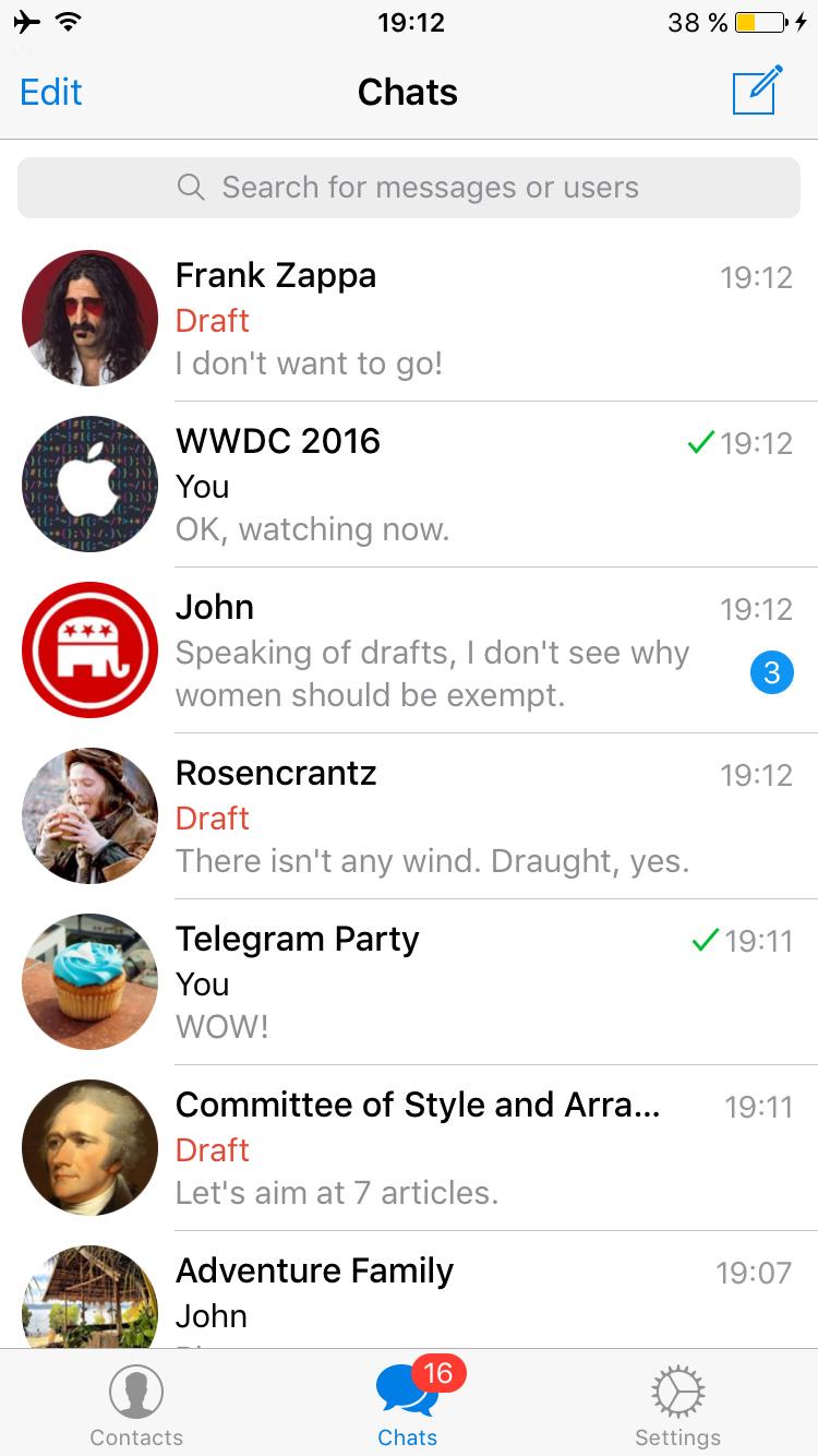 Draft messages in Telegram.