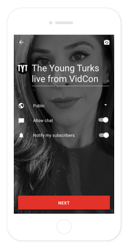 YouTube livestream controls