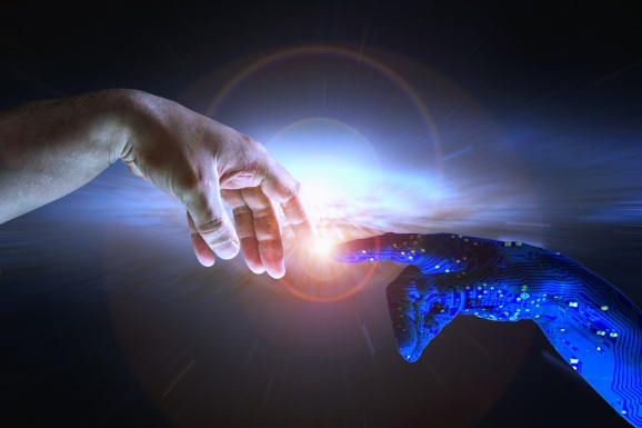 An AI hand reaches out to touch a human hand.