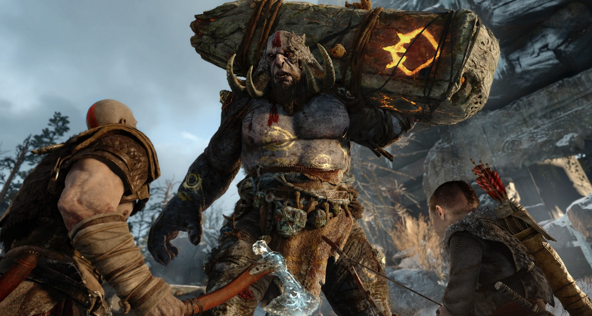 A troll fight in God of War