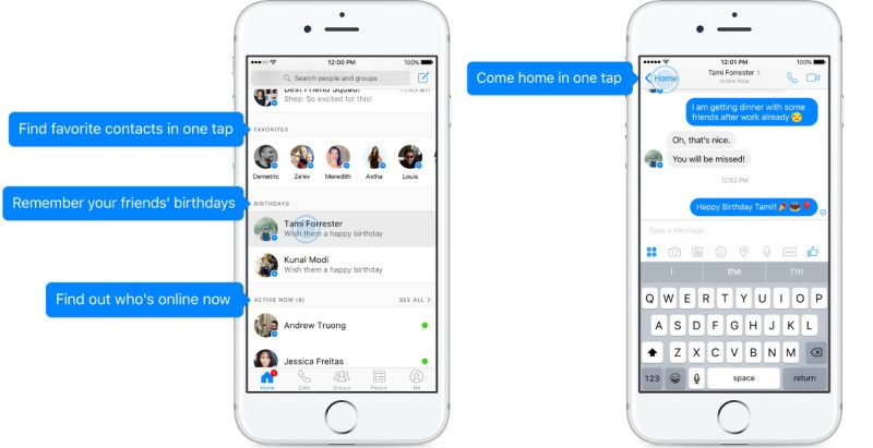 Facebook Messenger S New Home Section Shows You Birthdays