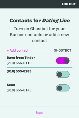 How to 'ghost' someone within Burner.