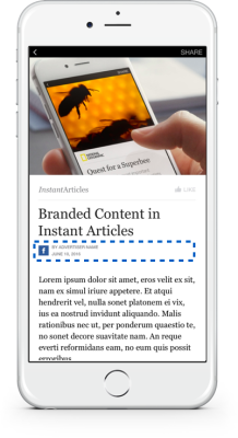 How a marketer's logo will appear on a sponsored content when viewed as a Facebook Instant Article.