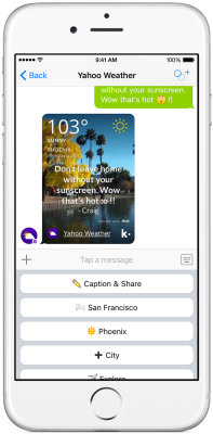 Yahoo's weather bot on Kik seeks to make forecasts a social experience.