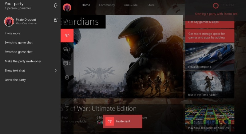 Cortana makes it easier to send Xbox party invites.