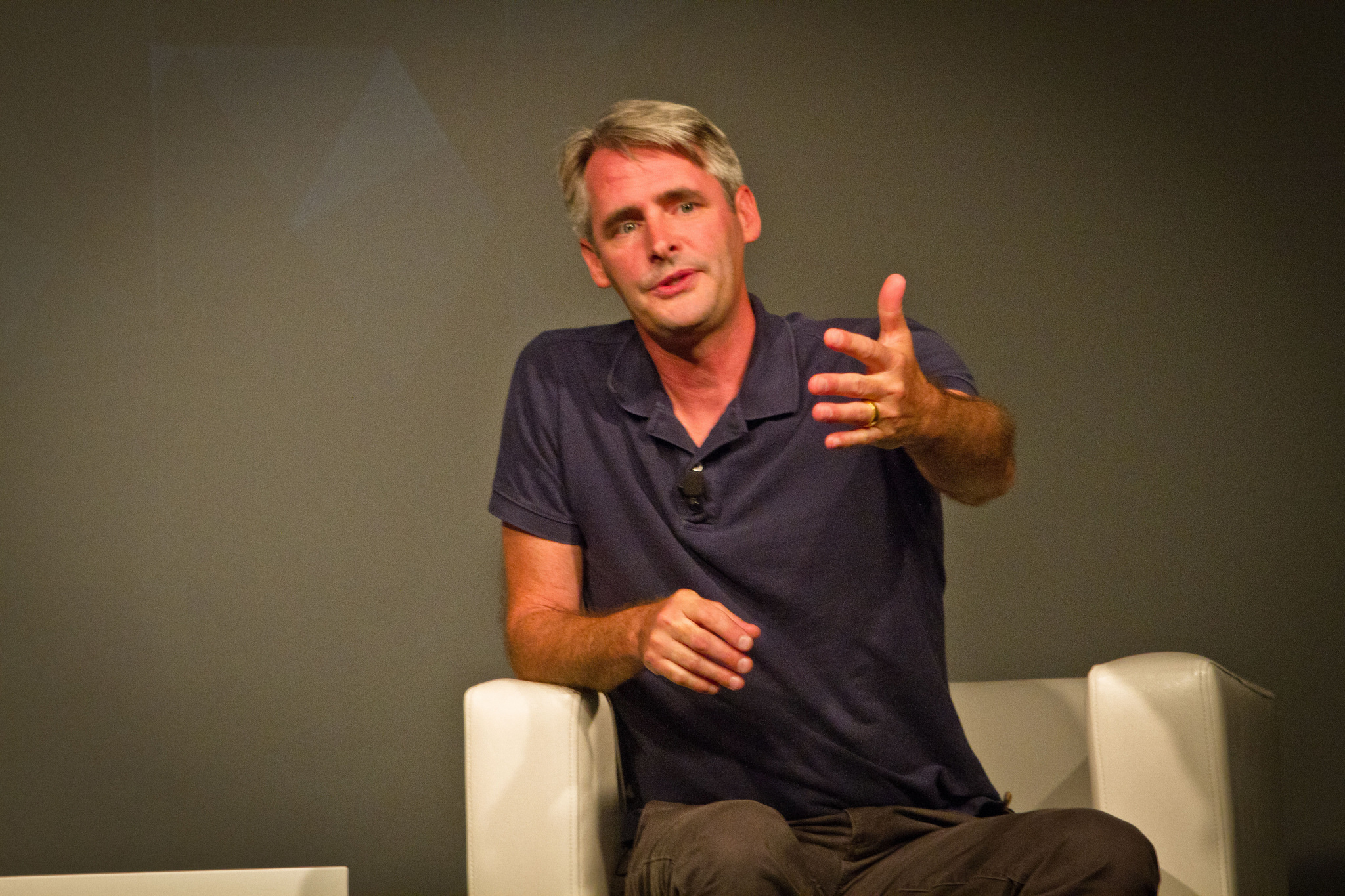 Flipboard CEO Mike McCue gestures while speaking at a ReadWriteMix event on August 13, 2014.
